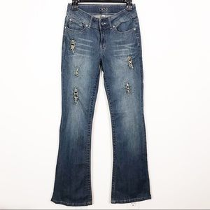 Cache Distressed Edgy Studded Mid Rise Flare Jeans